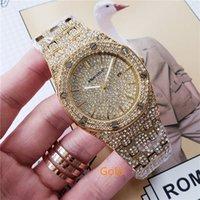 kraliyet altın saati toptan satış-Lüks erkek kraliyet meşe izle 41mm erkekler Marka paslanmaz çelik elmas kuvars İzle Gül altın ve gümüş kol saati erkek lüks hediyeler montres