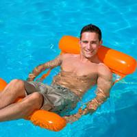 colchón inflable al aire libre solo al por mayor-Hamaca de agua plegable al aire libre para una sola persona Aumento de colchón de aire inflable Tumbona de playa Cama para dormir flotante juguete de juguete