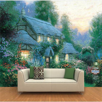 Wholesale country landscaping pictures for sale - Group buy custom size d photo wallpaper livingroom mural Thomas landscape cottage oil painting picture sofa backdrop wallpaper non woven wall sticker