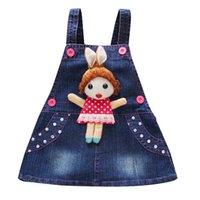 kız karikatür kot elbise toptan satış-Yaz Bebek Kız Denim Prenses Elbise Karikatür Parti Elbise Kız Elbise Çocuk Doğum Günü Giyim Meninas Vestidos Kız Giyim