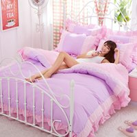Wholesale girls princess duvet covers for sale - Group buy Purple Lace Korean bedding set bedspread beautiful princess style girls solid queen king size Good quality bed sheet duvet cover
