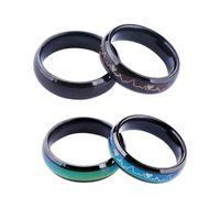 anillo de humor de alta calidad al por mayor-Nueva moda de titanio anillo de color de acero negro de alta calidad, oro rosa, compromiso, hombres y mujeres, anillo de temperatura del estado de ánimo
