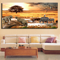ingrosso dipinti africani incorniciati-1 Pz African Grassland Sunset Landscape Poster And Prints-Cheetah And Rhinoceros Paintings For Living Room Senza cornice