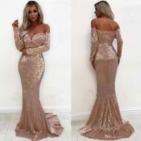 бежевое розовое платье оптовых-Блестящие розовое золото Русалка вечерние платья длинные 2019 элегантный с плеча с длинным рукавом вечерние платья вечерние носит BC1633