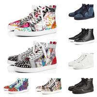 erkek ayakkabıları 47 beden toptan satış-2019 Christian Louboutin kırmızı dipleri tasarımcı ayakkabı erkekler kadınlar moda lüks perçin glitter sneakers için parti düğün Hakiki Deri çivili ayakkabı boyutu 36-47