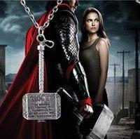 martillo vengadores mjolnir al por mayor-Películas de moda Collar Thor Hammer Collar Marvel Avengers Mundo Oscuro Películas Clásicas Exquisito Collar Colgante Mjolnir