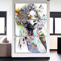 ingrosso capelli moderni-HD Home Decor Wall Art Foto su tela Pittura 3 pezzi Colore Donna Capelli fiore per soggiorno Moderna Poster stampato