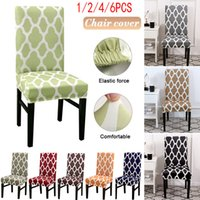 Fabulous 1 2 4 6Pcs Geometric Print Chair Cover For Dining Elastic Chair Covers Cloth Universal Stretch Spandex Cover Chairs Short Links Chair Design For Home Short Linksinfo