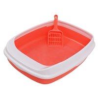 Wholesale litter boxes resale online - Colorful Cat Litter Box Tray Anti Splash Toilet Fenced Pan With Shovel