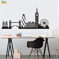 büyük oturma odası toptan satış-Dctop Şehir Binası Londra Skyline Siluet Duvar Sticker Big Ben Landmark Vinil Duvar Çıkartması Oturma Odası Duvar Sanatı Ev Dekor