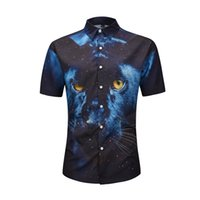 ingrosso streetwear leopardo-ONSEME Mens Estate Hipster manica corta Camicie Vintage Galaxy Leopard Pattern 3D Shirt Harajuku Tees Streetwear Top Drop Ship