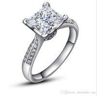 anéis de casamento de prata e prata puro venda por atacado-High Fashion Key4fashion puro luxo Anéis de casamento de prata ChiBrand Jóias Zirconia diamante 925 prata esterlina anéis de noivado para Mulheres