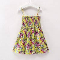 Wholesale baby girl outwear clothes online - Casual Flowers Dress for Girls Summer Clothes Knee Length Cotton Girl Dress Cute Baby Girl Clothes Outwear