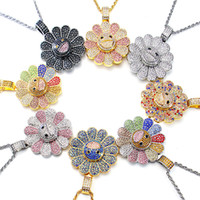 Wholesale red sunflowers for sale - Group buy hot sale Murakami Sun Flower Sunflower Pendant Micro Zircon Hiphop Colorful Flower Rotating Pendant Necklace