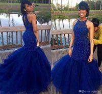 vestidos indianos para meninas venda por atacado-Royal Blue Prom Dresses 2019 New Back Sereia Beadings Duros Evening Party Gowns Vestido Indiano Menina Negra Vestido De Festa Para Mulheres Especial