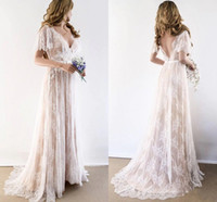 Wholesale wedding dresses bohemian resale online - 2020 Champagne Country Bohemian Wedding Dresses V neck Short Sleeves Lace Backless Cheap Wedding Bridal Gowns Plus size New
