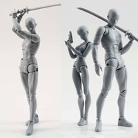 modelos de cuerpos masculinos al por mayor-14cm artist Art painting Anime figure SHF Sketch Draw Male Female Movable body chan joint Action Figure Toy model draw Mannequin