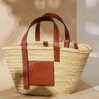 körbe taschen großhandel-Sommer Handtasche Reise Palm Korb Tote Marokko Luxus Designer Strandtasche Hohe Qualität Berühmte Marke Stroh Taschen Frauen