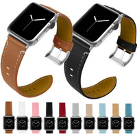 Wholesale classic leather band watches online - classic design real leather bands for apple watches mm mm iwatch series bracelet straps wrist leather sport soft watchbands