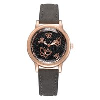 Wholesale leather ladies briefs for sale - Group buy butterfly dial brief style women watches Korean version casual quartz woman clock brand ladies retro wristwatches leather band