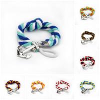 braceletes de amizade couro feminino venda por atacado-Charm Bracelets Liga de Prata Ganchos de Âncora Pulseira Homens Couro Risers Pulseira para Pulseiras de Amizade Das MulheresHomens