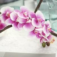 dekorasyon için yeni malzemeler toptan satış-Yeni Varış 72 cm Yapay Kelebek Orkide Çiçek PU Lateks Malzeme Gerçek Dokunmatik Phalaenopsis Düğün Dekorasyon Flores