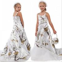vestidos de cetim de criança venda por atacado-Branco Camo Lace Flower Girl Dresses para o casamento personalizado on-line da criança crianças formais de camuflagem cetim crianças vestidos de festa de aniversário
