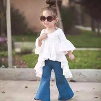 elbiseler alevlendirilmiş etekler toptan satış-Elbiseler Gömlek Gündelik Peri Güzellik Kırışıklık Etek Gömlek + Flared pantolon Suit Uzun kollu Uzun Pantolon Iki parça Suit