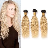 Wholesale brazilian virgin hair wefts resale online - 1B Ombre Human Hair Bundles Dark Root Hair Extensions Water Wave Blonde Ombre Brazilian Virgin Hair Weave Wefts Wet and Wavy Bundles