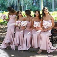 casamento tamanho maior rosa rosa venda por atacado-2019 Nova Chegada Simples Sereia Vestidos de Dama de honra Rosa Rosa Querida Longo Até O Comprimento Convidado Do Casamento Vestido Plus Size Maid of Honor Vestidos