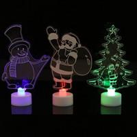 acrílico led arboles de navidad al por mayor-Acrílico LED Mini árbol de Navidad Pino Decoración navideña Decoloración automática Colorido Adornos de regalo Suministros para fiestas Navidad Santa Claus