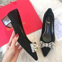 zapatos de boda de plata perlas al por mayor-Diseñador Pearl talón Mujeres Plata zapatos de vestir dorados Zapatos de boda de pedrería Atractivo dedo del pie puntiagudo tacón alto resbalón en bombas de estilete zapatos básicos