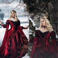 Discount gothic victorian long sleeve gowns Gothic Sleeping Beauty Princess Medieval Burgundy Black Evening Dresses Long Sleeve Lace Appliques Victorian Masquerade Cosplay Prom Gowns
