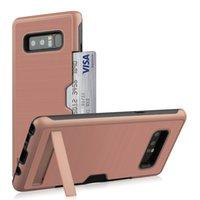 galaxy note gummiabdeckung großhandel-Stoßfestes Gehäuse für das Galaxy Note 8-Gehäuse Hart PC-Ständer Kartensteckplatz TPU-Schutzhülle für Gummiabdeckung Samsung Note8
