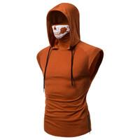 черепа с капюшоном оптовых-Skull Zipper Hoodie Cotton Men Tracksuit Pullover Streetwear H007 6 Colors 2019 Sweatshirts Men Hoodies Orange