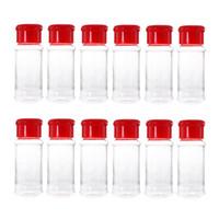 12 kavanoz toptan satış-12 ADET Plastik Baharat Tuz Biber Çalkalayıcı Baharat Kavanoz Can Barbekü Çeşni Kavanoz Şişeleri Şişe Konteyner (Kırmızı)