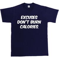 chemises crossfit roses achat en gros de-Les excuses ne brûlent pas les calories Gym Work Out Crossfit T-shirt shirt homme rose
