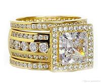 ingrosso solitario di oro giallo-Victoira 3PCS Wedding Band Ring Gioielli di lusso Handmade Solitaire 10KT Yellow Gold Filled Princess Cut Diamond Donne Wedding Band Ring Set