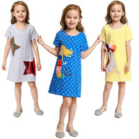Wholesale colorful outfits resale online - 7Colors Kids Long Sleeve Dress Colorful Sequins Butterfly Pattern Frock Children Spring Stripe Casual Clothes Cartoon Owl Appliques Outfits