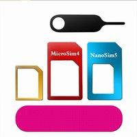 Wholesale standard iphone online – Aluminum Metal in Nano Sim adapter Micro Sim Standard Sim Card Convertion Converter for Samsung S10 S10 plus for iphone x xr xs max