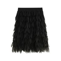 пернатые юбки оптовых-Solid Feather Pleated Mini Skirt Fashion Elastic High Waist Minimalism Out Going Skirts Summer Women Elegant Skirt Jupe Femme