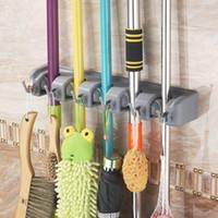 Wholesale plastic rack bathroom resale online - plastic Bathroom Holder and Garden Tool Organizer Rake Mop Handles Kitchen Bathroom Tool Storage rack LJJK1797