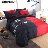 baumwoll-doppel-bettbezug-sets großhandel-COMFEEL Monochrome Classice Paar Stil Bettbezug-Sets Baumwolle Double Tröster Bettwäsche und Kissenbezüge Luxus-Bettwäsche-Set