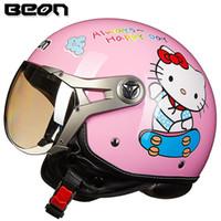 moto capacetes mulheres venda por atacado-Chegada nova capacete da motocicleta das mulheres Beon capacete do vintage olá kitty scooter metade ECE aprovado moto casco