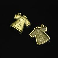 bronze bekleidungszubehör großhandel-59 stücke Charme No. 1 Fußball kleidung Antike Bronze Überzogene Anhänger Fit Schmuck, Die Entdeckungen Zubehör 25 * 26mm
