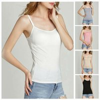 Wholesale girls cotton camisole resale online - 2020 Girls Womens Strap Built In Bra Padded Self Mold Bra Tank Top Camisole Cami Straps with chest straps Hot