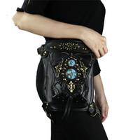 bolso de moto de cuerpo cruzado de mans al por mayor-Steampunk Riñonera Gótica Mujer Bolsos de hombro Vintage Cuero negro Casual Mini Motocicleta Cross Body Messenger Bag Hombres