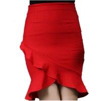saia de um passo venda por atacado-New Elastic cintura alta Peixe saia Lotus Folha OL pacote Hip Feminino One Step saia Plus Size S-5XL