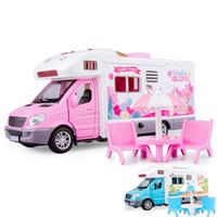 ingrosso camper di rimorchio-01:32 Autocaravan Travel Tour Car Camper Camper camper RV Trailer Gioca la casa giocattoli del bambino per le ragazze
