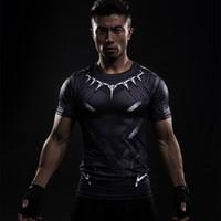 captain america preto traje venda por atacado-Pantera preta 3d impresso camisetas homens camisa de compressão capitão américa manga curta cosplay halloween traje para homens tops masculino